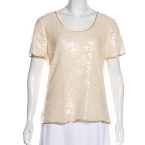 MAGASCHONI Short Sleeves Sequined Embellished Top